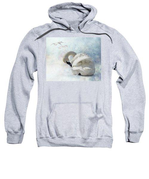 Trumpeter Textures #2 - Swan Preening Sweatshirt