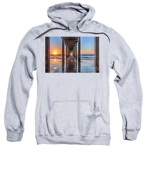 Under Scripps Pier At Sunset  ..autographed.. Sweatshirt