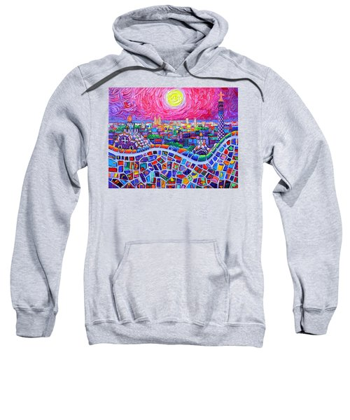 Vibrant Barcelona Night View From Park Guell Modern Impressionism Knife Painting Ana Maria Edulescu Sweatshirt
