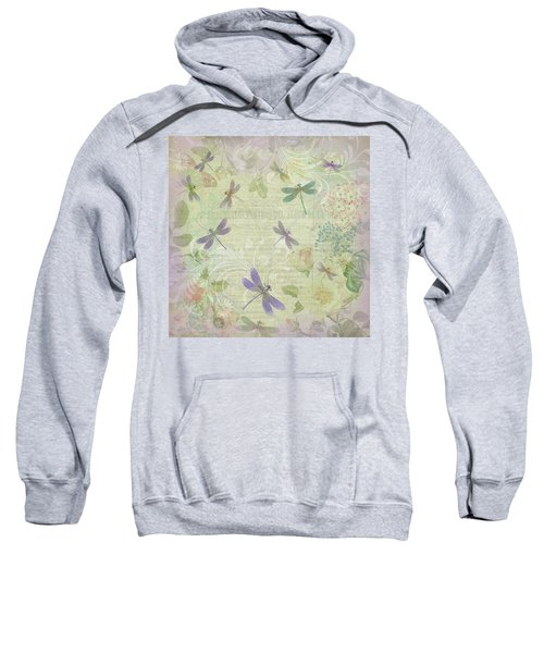 Vintage Botanical Illustrations And Dragonflies Sweatshirt