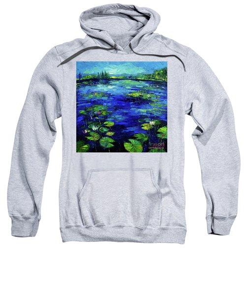 Water Lilies Story Impressionistic Impasto Palette Knife Oil Painting Mona Edulesco Sweatshirt