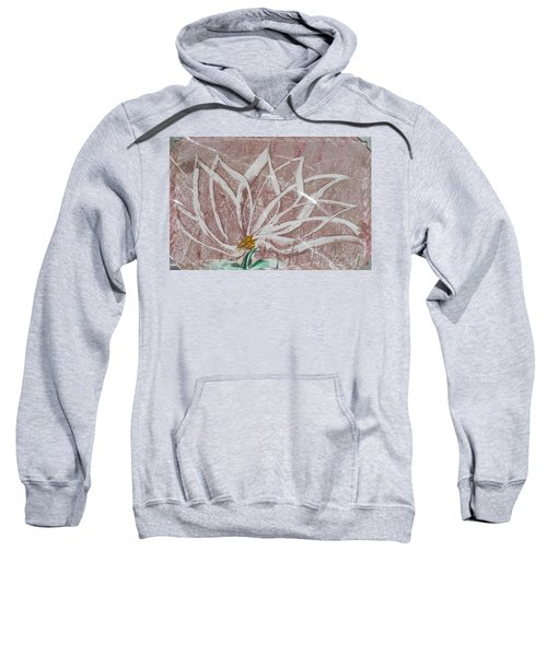 White Abstract Floral On Silverpastel Pink Sweatshirt