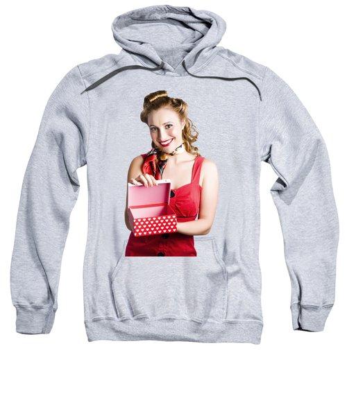 Woman Holding Gift Box Sweatshirt