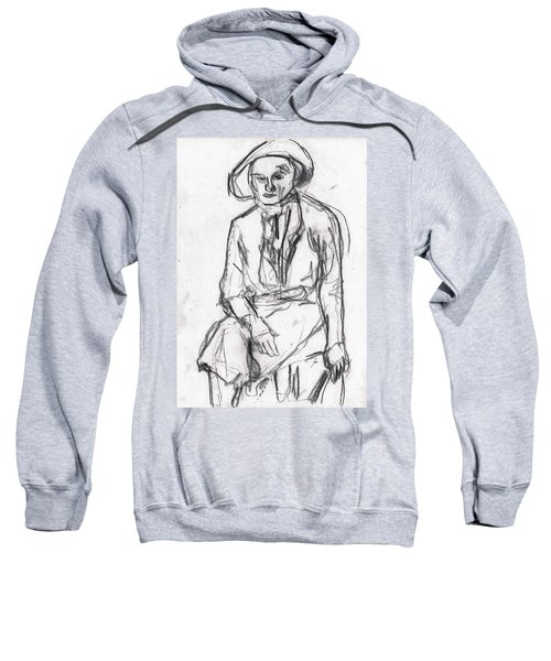 Woman In A Hat Drawing Sweatshirt