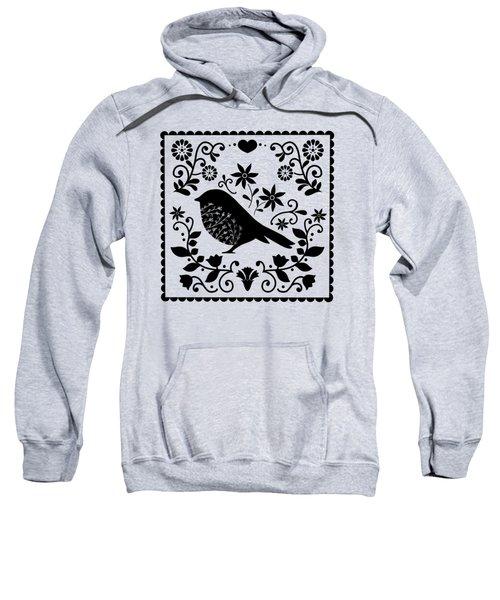 Woodland Folk Black And White Blue Bird Tile Sweatshirt