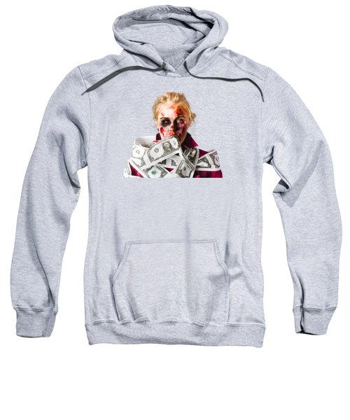Worried Zombie With Dollar Bills Sweatshirt