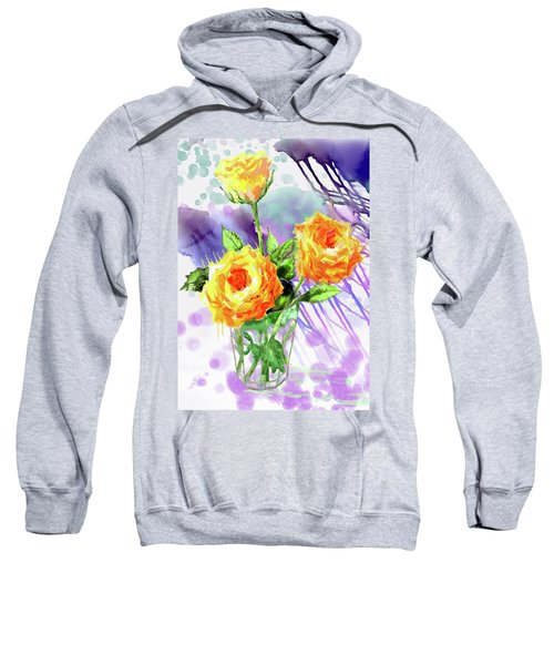 Yellow Roses In A Glass Sweatshirt
