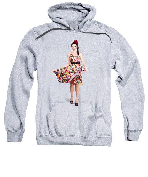 Young Beautiful Dancer Posing On Tan Background Sweatshirt