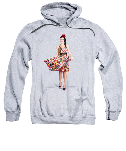 Young Beautiful Dancer Posing On Tan Background Sweatshirt