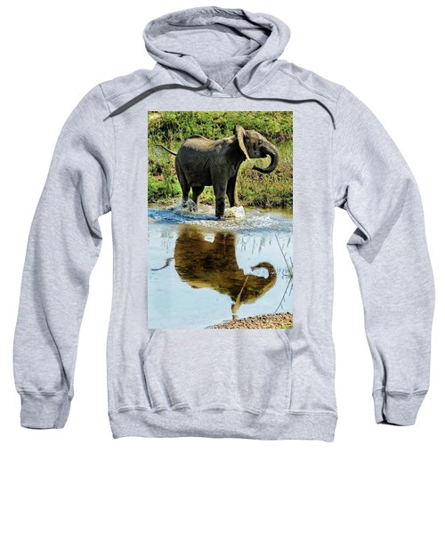 Young Elephant Playing In A Puddle Sweatshirt
