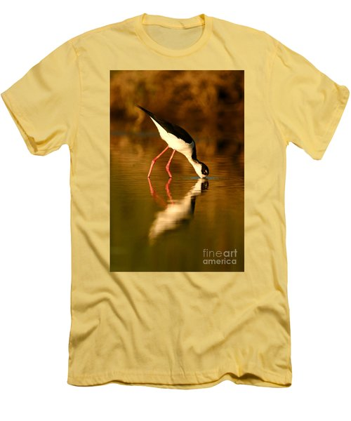 Men's T-Shirt (Slim Fit) featuring the photograph  Black-necked Stilt Reflection by John F Tsumas