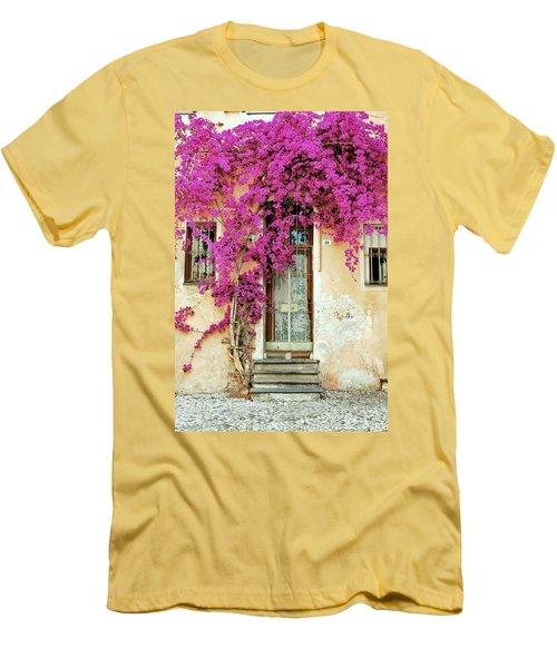 Bougainvillea Doorway Men's T-Shirt (Slim Fit) by Allen Beatty