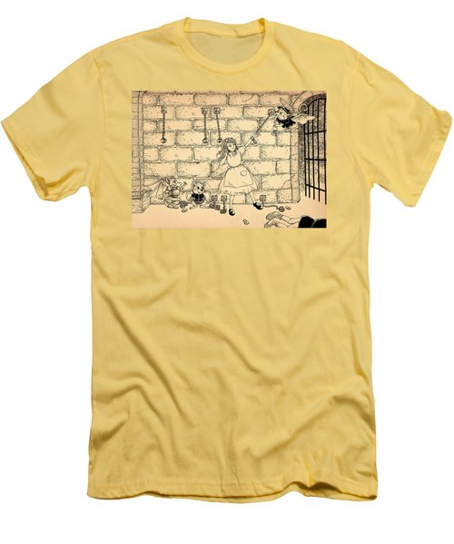 Men's T-Shirt (Slim Fit) featuring the drawing Escape by Reynold Jay