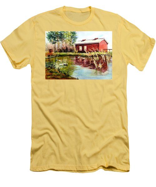 Green Acre Farm Men's T-Shirt (Slim Fit) by Betty M M   Wong