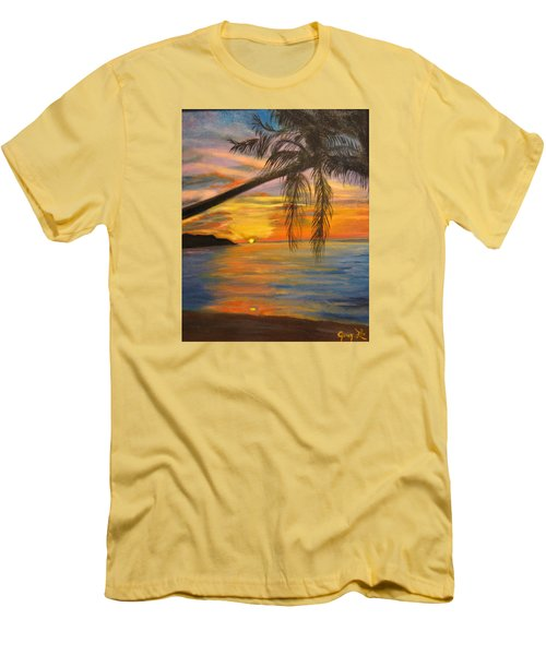 Men's T-Shirt (Slim Fit) featuring the painting Hawaiian Sunset 11 by Jenny Lee