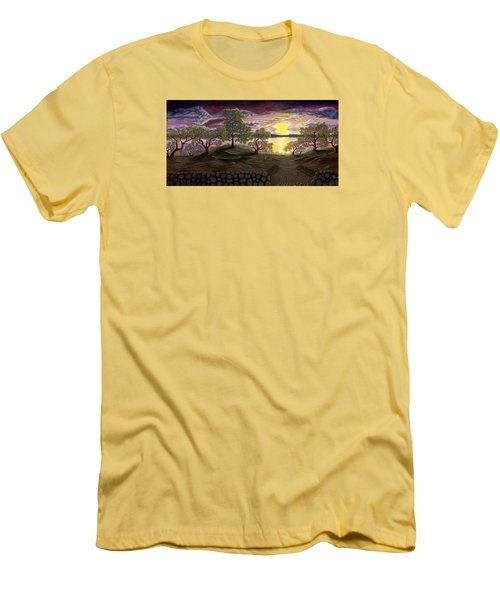 Men's T-Shirt (Slim Fit) featuring the painting Peaceful Sunset by Rebecca Parker