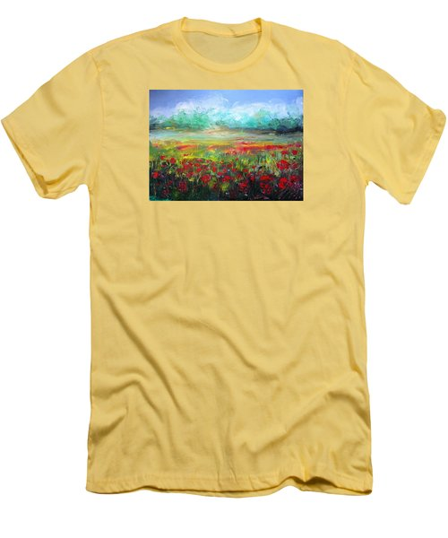 Men's T-Shirt (Slim Fit) featuring the painting Poppy Fields by Vesna Martinjak