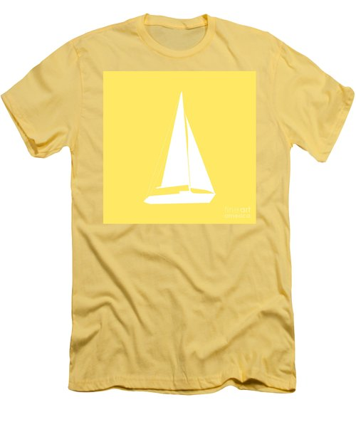 Sailboat In Yellow And White Men's T-Shirt (Athletic Fit)
