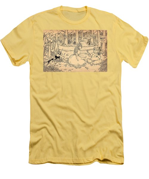 Men's T-Shirt (Slim Fit) featuring the drawing Tammy And The Baby Hoargg by Reynold Jay