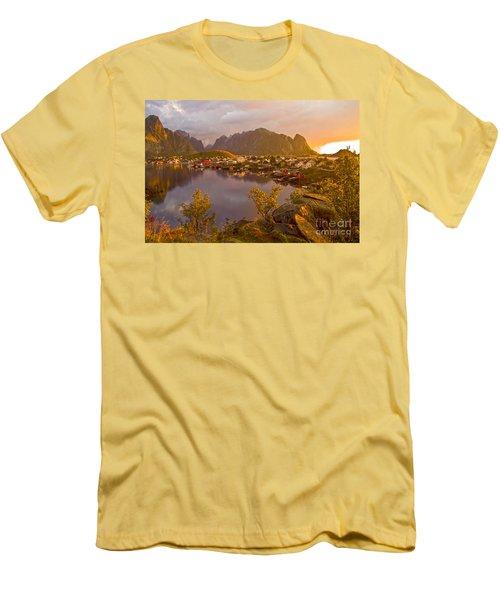 The Day Begins In Reine Men's T-Shirt (Slim Fit) by Heiko Koehrer-Wagner