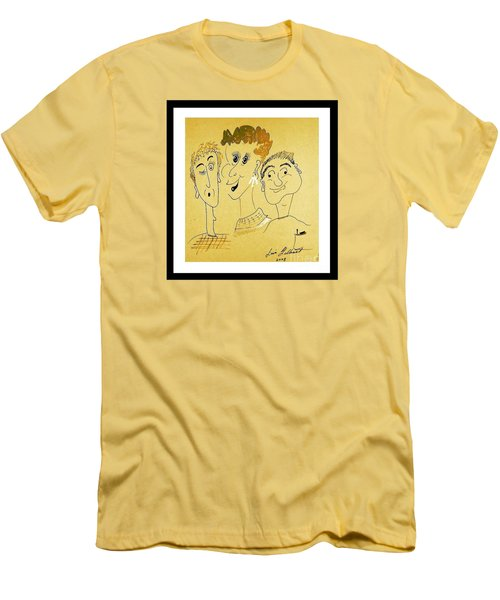 Men's T-Shirt (Slim Fit) featuring the drawing We Are Family by Iris Gelbart