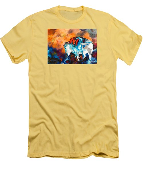 White Buffalo Ghost Men's T-Shirt (Slim Fit) by Karen Kennedy Chatham