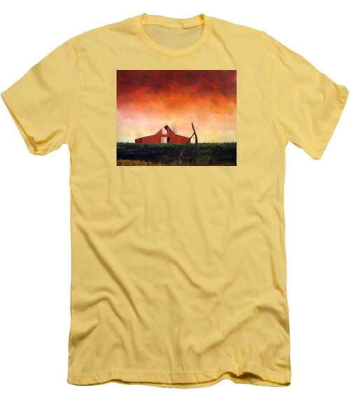 Men's T-Shirt (Slim Fit) featuring the painting Wired Down by William Renzulli