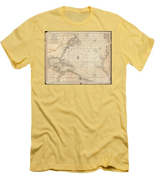 1683 Mortier Map Of North America The West Indies And The Atlantic Ocean  Men's T-Shirt (Slim Fit) by Paul Fearn