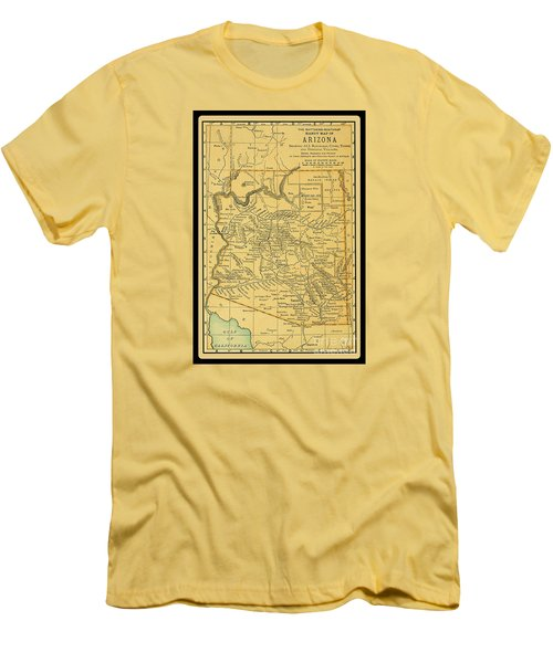 1891 Arizona Map Men's T-Shirt (Slim Fit) by Phil Cardamone