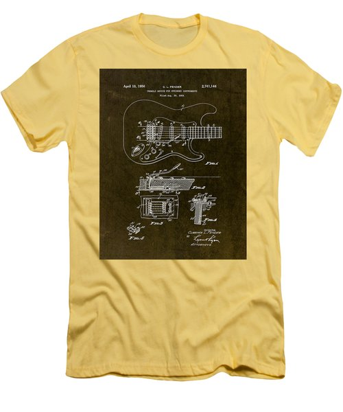 1956 Fender Tremolo Patent Drawing II Men's T-Shirt (Slim Fit) by Gary Bodnar