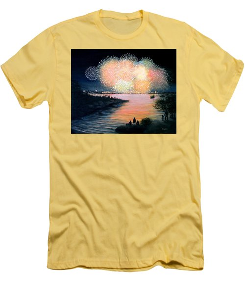 4th Of July Gloucester Harbor Men's T-Shirt (Slim Fit) by Eileen Patten Oliver