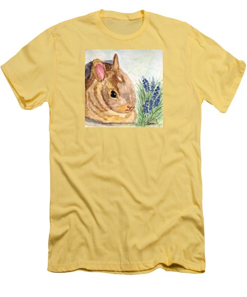 Men's T-Shirt (Slim Fit) featuring the painting A Baby Bunny by Angela Davies