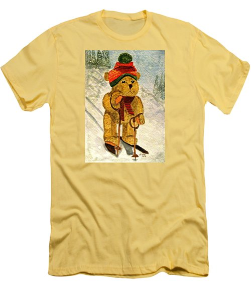 Learning To Ski Men's T-Shirt (Slim Fit) by Angela Davies