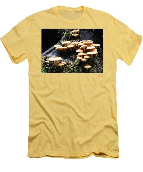 Men's T-Shirt (Slim Fit) featuring the photograph Mushrooms On A Stump by Chalet Roome-Rigdon