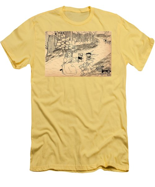 Men's T-Shirt (Slim Fit) featuring the drawing Tammy  Meets Cedric The Mongoose by Reynold Jay