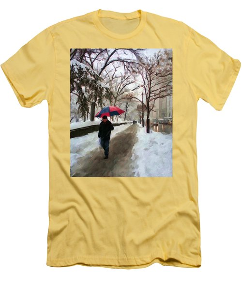 Snowfall In Central Park Men's T-Shirt (Athletic Fit)