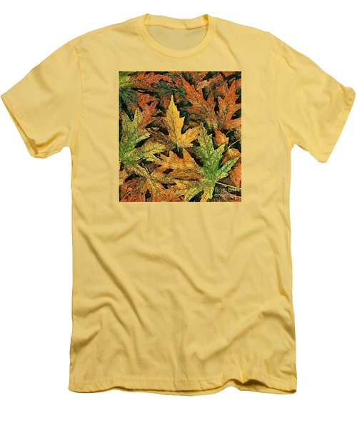 Men's T-Shirt (Slim Fit) featuring the painting A Carpet Of  Falling Leaves by Dragica  Micki Fortuna