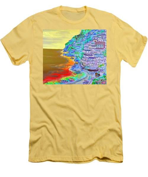 A Coastal View Of Positano Men's T-Shirt (Slim Fit) by Loredana Messina