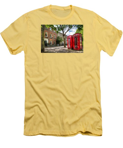 Men's T-Shirt (Slim Fit) featuring the photograph A Pair Of Red Phone Booths by Tim Stanley