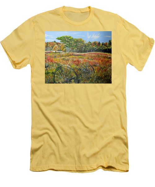 Men's T-Shirt (Slim Fit) featuring the painting A Prairie Treasure by Marilyn  McNish