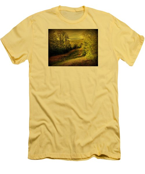 Men's T-Shirt (Slim Fit) featuring the photograph A Road Less Traveled by Mim White