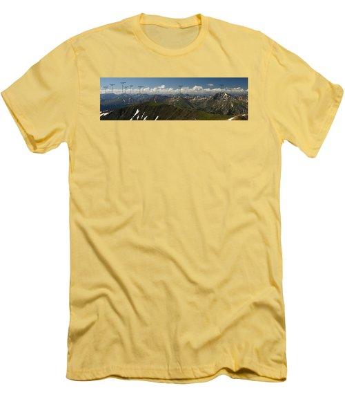 A Summit View Panorama Text Men's T-Shirt (Slim Fit) by Jeremy Rhoades