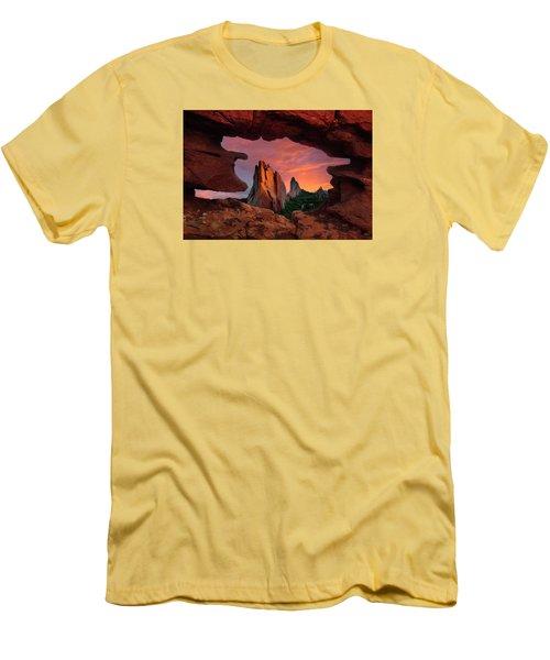 A View Through Window Rock At Siamese Twins Men's T-Shirt (Slim Fit) by John Hoffman