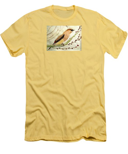 A Waxwing In The Orchard Men's T-Shirt (Slim Fit) by Angela Davies