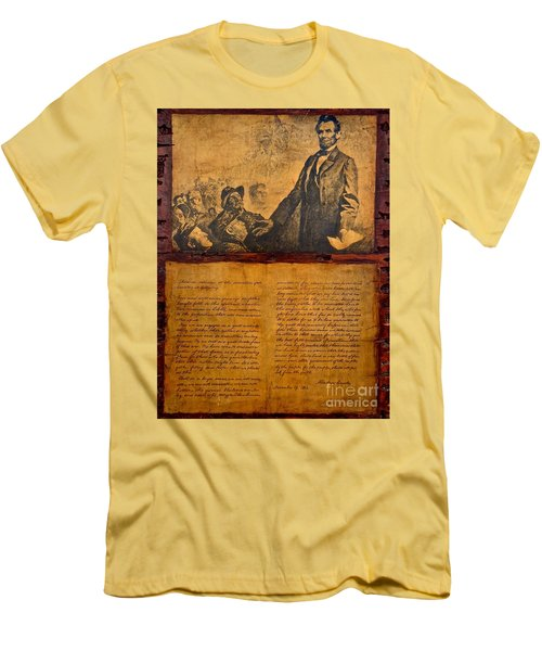 Abraham Lincoln The Gettysburg Address Men's T-Shirt (Slim Fit) by Saundra Myles