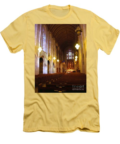 Men's T-Shirt (Slim Fit) featuring the photograph Abstract - Egner Memorial Chapel Interior by Jacqueline M Lewis