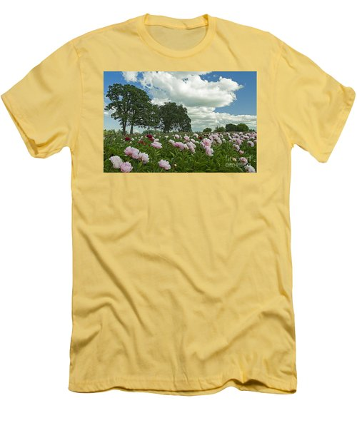 Men's T-Shirt (Slim Fit) featuring the photograph Adleman's Peony Fields by Nick  Boren