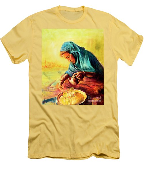 Men's T-Shirt (Slim Fit) featuring the painting African Chai Tea Lady. by Sher Nasser