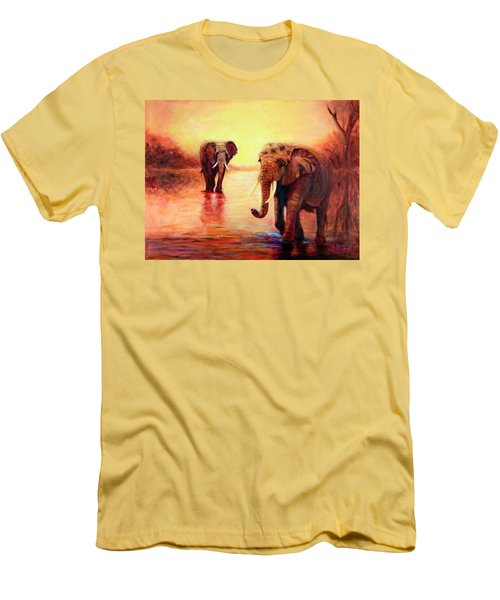 Men's T-Shirt (Slim Fit) featuring the painting African Elephants At Sunset In The Serengeti by Sher Nasser