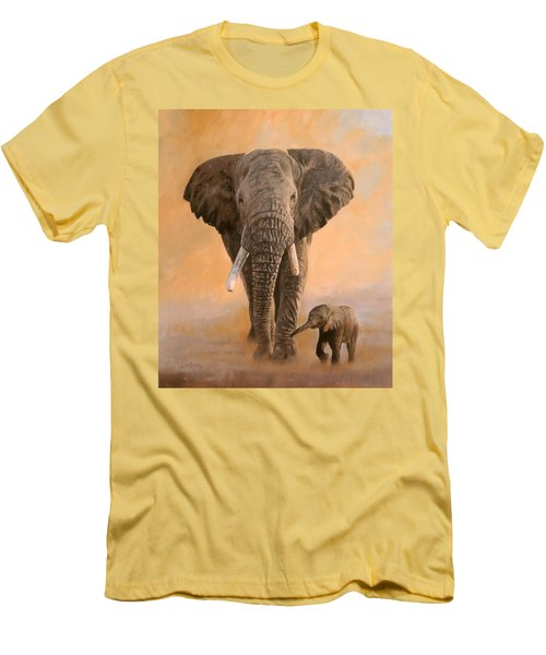 African Elephants Men's T-Shirt (Slim Fit)